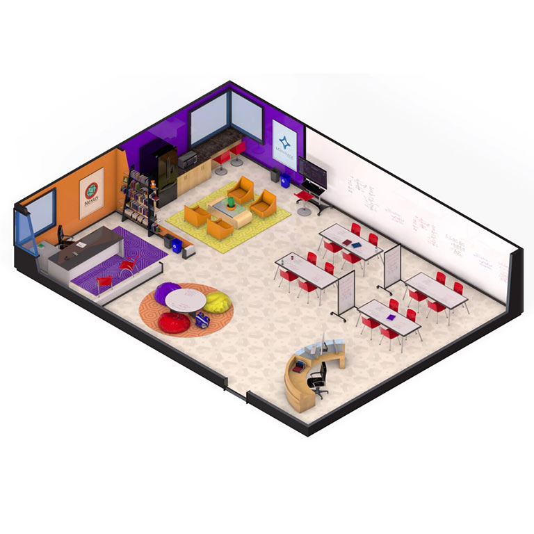 An illustration of a collaborative space called a Learning Commons